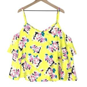 TORRID Tank Top Cami Strappy Neon Floral Size 2X